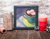 Hot Chocolate Painting - Chocolate painting - Oil Painting -Book Still Life - Food Still Life - Original Oil Painting - Kitchen Decor