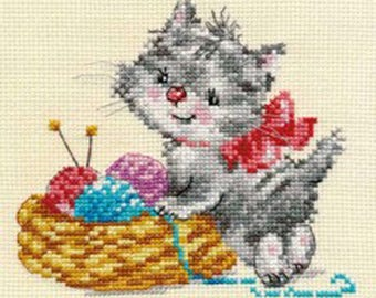 Lot of 2 Counted cross stitch kit for beginner/easy embrodering/ Chatons