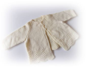 Vintage cream babies knitted matinee jacket, knitted cardigan