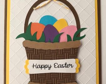 Handmade Easter Basket Card, Happy Easter, Easter Eggs