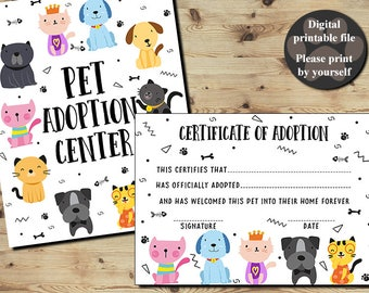 Pet Adoption Certificate, Certificate Of Adoption, Adopt A Puppy, Adopt A Cat, PET PAW-TY Puppy Kitty Party, Printable Digital File