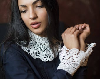 Hand made crochet collars and cuffs - detachable collar and cuffs - Hand made collar - Crochet lace collar - White knitted collar - Choker
