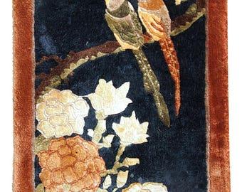 Handmade vintage silk Chinese mat rug 1' x 2' ( 31cm x 63cm ) 1980s