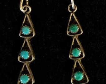 Vintage sterling silver and turquoise  Native American Zuni  earrings