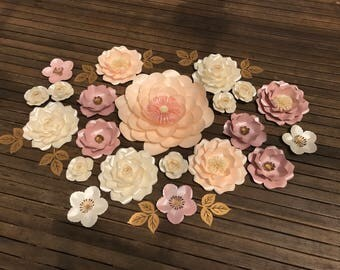 PEACH CAMELLIA GARDEN Paper flower backdrop/Paper flower wall/Wedding Backdrop/Holy communion/Bridal Baby shower/Sweet table/Christening