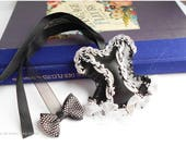 Brand page Gothic corset bookmark black and white original bookmarks, pleather, black and white lace, Christmas gift