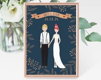 Wedding Gift Personalised, Valentines Gift, Custom Wedding Portrait, Wedding Print, Anniversary Gift, Wedding Illustration, Couple Print