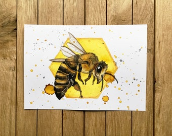 Honey Bee, Original Watercolor Illustration, A5 size