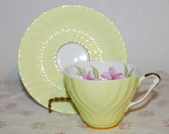 Crown Staffordshire Yellow Teacup & Saucer Pink Flowers Swirled Bone China Teacup and Saucer