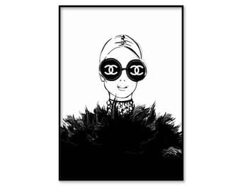 Chanel print, Chanel black and white illustration, Chanel inspired, Coco Chanel, Chanel poster, fashion wall art, instant download, digital
