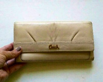 Cream leather COACH wallet