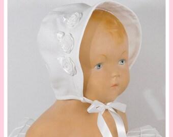 Baptism Bonnet for Baby Girl, 100% Cotton Bonnet, Cotton Baby Bonnet