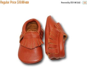SUMMER SALE Saddle Brown Baby Moccasins // Brown Baby Moccasins // Baby Mocassin // Baby Boy Moccasin // Brown Baby Shoes