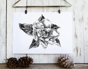 Botanical Wall Art, Magnolia Flower Print, Magnolia clip art, Botanical Print, Nature Wall Art, Flower Poster, Black and White Prints.