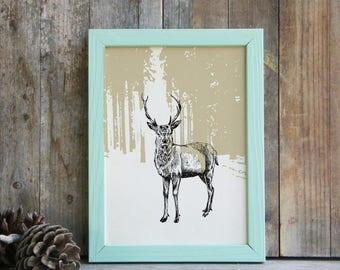 Deer Wall Art, Modern Deer Poster, Woodland Animals, Printable Cabin Decor, Deer Decor, Rustic Wall Hanging, Gift Under 10