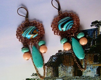 "Earrings ethnic ""Quetzal"", cabochons and turquoise gemstones, copper filigree beads, pink jade mashan"