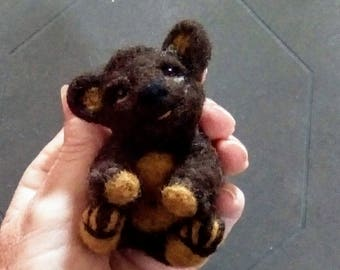 Needle felted cute little collectible bear