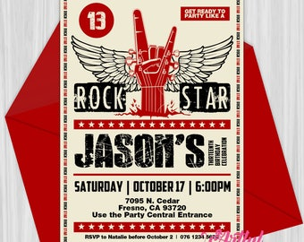 Printable Rock Star Guitar Hero Party Invitation | Personalized