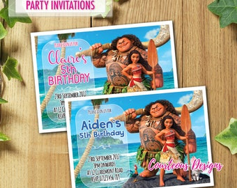 PRINTED & DELIVERED   12x Moana Birthday Invitations   For Boy or Girl   Any Age   Any Message   Blue   Pink