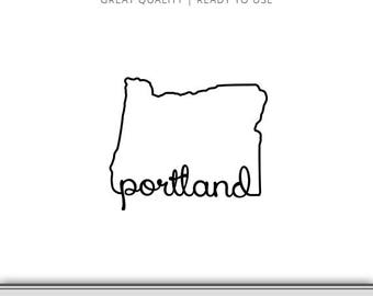 Portland Oregon State Outline Graphic - Cut Files Included - Oregon DXF - Oregon SVG - Digital Download | 7 Formats Ready to Use!