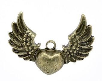 bronze pendant 34 X 27 mm winged heart charm 1 pce