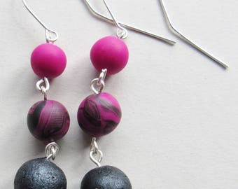 Pink and Black Polymer Clay Earrings