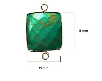 BLUE TURQUOISE SQUARE 15 mm silver double s