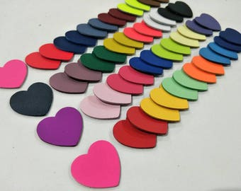 Leathet Hearts, 50 Pcs.(25 Pairs), 5 Sizes 15mm. 20mm 25mm. 30mm. 40mm., Mixed Colors, Leather Hearts, Leather Hearts Die Cut, DIY Projects.
