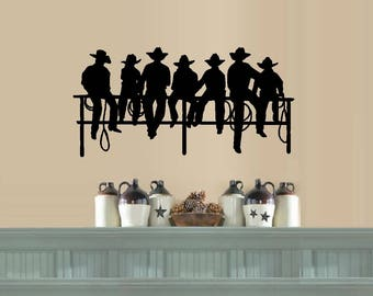 Cowboys Sitting on Fence ~ Wall or Window Decal