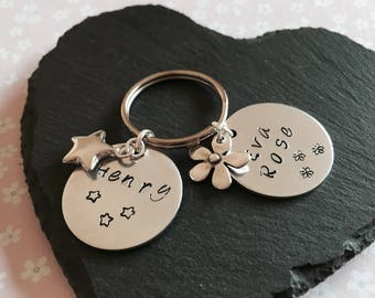 Personalised Name Key Ring, Double Name key ring, Hand stamped key ring with charm, Initial key chain, stocking gift