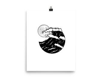 Full Moon Waves Print