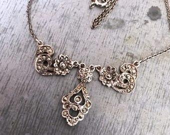 Marcasite necklace, vintage marcasite necklace, vintage necklace, Art Deco necklace, art nouveau necklace, vintage bridal, silver necklace