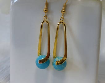 Blue with Gold Egyptian Earrings