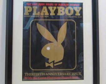 Vintage Playboy Magazine Cover Matted Framed : January 1984 - Rabbit Head