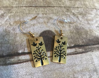 Gold and black bird and tree earrings