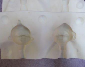 Bell 614 Two Doll Heads Ceramic/Porcelain Ceramic Mold  S6