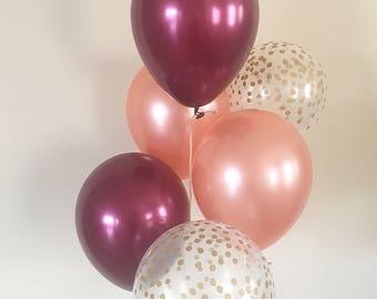 Rose Gold Burgundy & Clear Gold Confetti Latex Balloons~Wedding~Bridal Shower~Birthday~Rose Gold Maroon Balloon~Gold Confetti Look Balloon