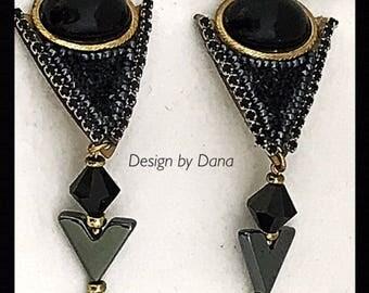 Hematite-Semi-Precious-Decoupage-Hand-Beaded-Triangular Shaped-Clip Earring