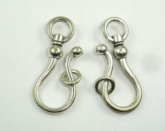 Metal Clasps, Hook and Eye, Antique Silver Tone, Hook 15x37mm, Ring 8mm, 6 sets (006854016)
