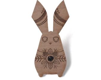 Wood rabbit wooden brooch