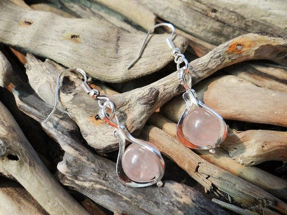 Pink Rose Quartz Gypsy Magic Crystal Ball Sterling Silver .925 Earrings Crystal Boho Hippie Wicca Pagan Full Moon Earring Ear Ring Rings