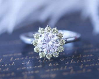 7mm Round Cut Moissanite with Yellow Sapphire Halo Moissanite Ring 14k White Gold Moissanite Engagement Ring Moissanite Wedding Ring
