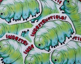 "Tardigrade: ""Indestructable!"" Waterbear Sticker"