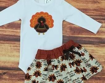 Girls Thanksgiving Outfit, Thanksgiving Shirt, Baby Girl Thanksgiving, Thanksgiving Dress, Turkey Skirt, Gobble Till You Wobble, Handmade