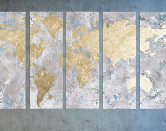 Gold leaf world map etsy world map map of the world gold leaf painting world map wall art sciox Choice Image