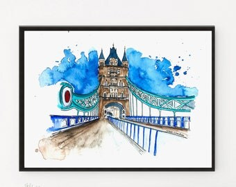London Print, London bridge, Watercolor Painting, Cityscape Painting, Watercolor Print, Travel art, Art Print, Travel poster, City art,