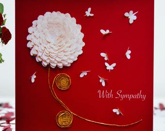 With Sympathy Chrysanthemum Butterfly Card