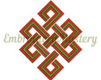 ETERNAL KNOT EMBROIDERY. Endless knot embroidery. Buddhism embroidery. machine embroidery design. Spiritual embroidery pattern.