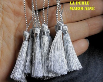 SET OF 4 COLORED POLYESTER TASSEL SILVER HANDMADE + - 8CM
