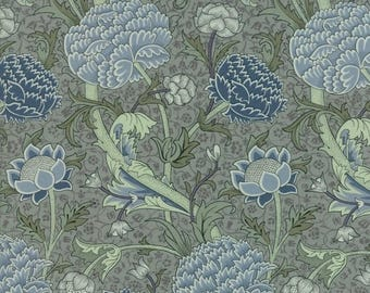 """PREORDER Moda Fabric """"William Morris 2017"""" by V & A - One Yard Cut - blue floral fabric, Reproduction - Shipping October 2017"""
